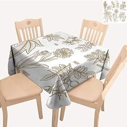 UHOO2018 Decorative Tablecloth Calendula Rosehip ARG Rose ge