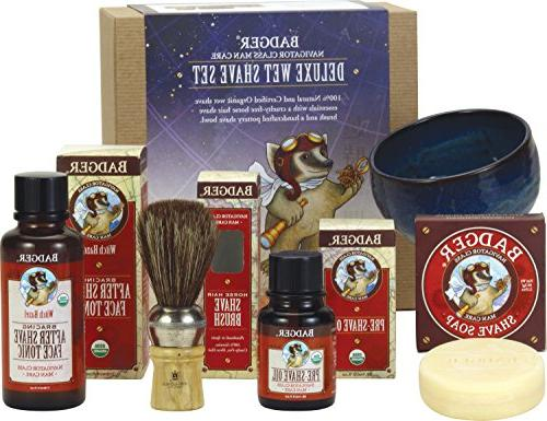 Badger Deluxe Wet Shave Set - Includes Pre-Shave Oil, Shave