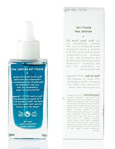 Blue Tansy Face by Hansen - Calming Anti Inflammatory for with Squalane, Rosehip Nourishing Oil for Scar Treatment - Oz