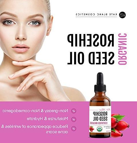 Rosehip Seed Kate Organic, 100% Pure, Pressed, Unrefined. Reduce Acne Scars. Essential Face, Nails, Hair, Skin. Therapeutic Grade