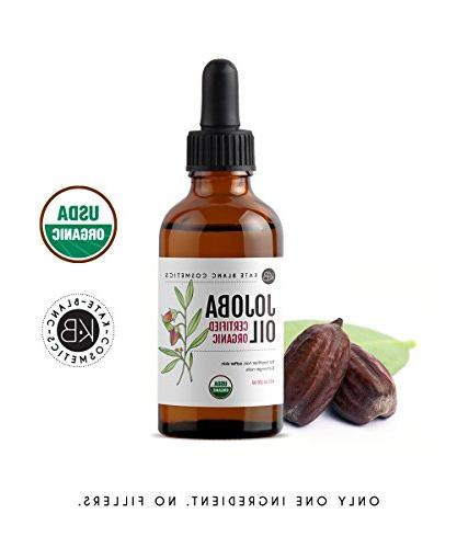 Jojoba Oil , Certified Organic, 100% Cold Hair and a Youthful Great treatment for Face, Lips, Cuticles, Marks, Beard