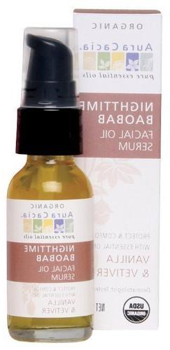 Aura Cacia Nighttime Baobab Facial Oil Serum, 1 Fluid Ounce