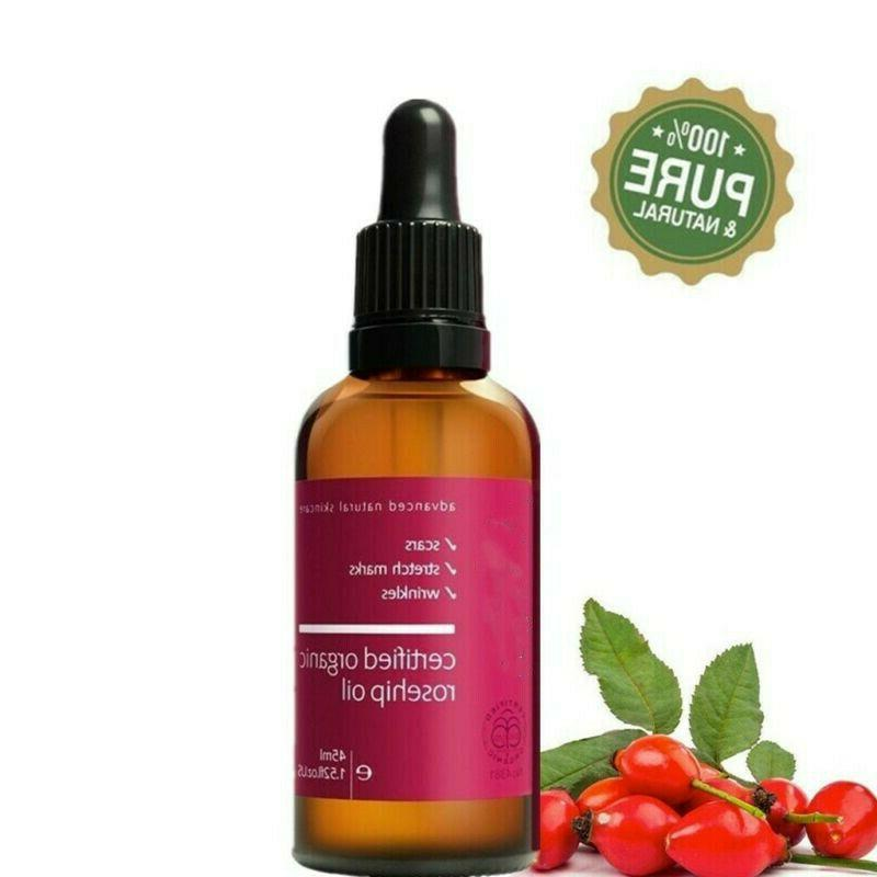 Rosehip Oil 100% Cold Pressed Pure Face Oil Moisturizer Stre