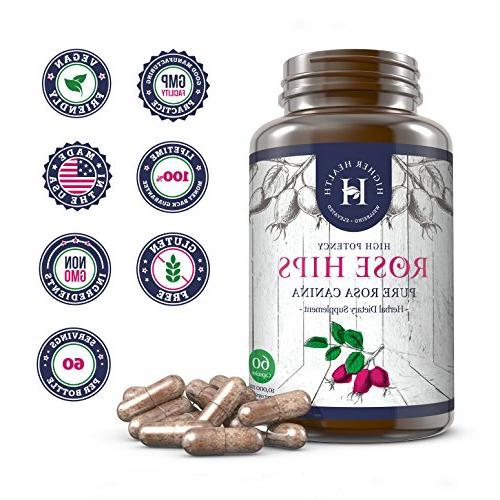 Rose Hips mg Natural Joint Pain & Supplement for & Women. Vegan, Non-GMO, Anti-inflammatory, Vitamin A/C/E Capsules, Product