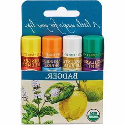 Badger Organic Classic Lip Balm Gift Set 4pcs - Soothing Cal
