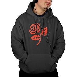 Red Rose Vector Men's Casual Classic Hooded Sweatshirt With