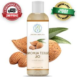 Sweet Almond Carrier Oil 4 oz - 100% Pure & Natural Cold Pre